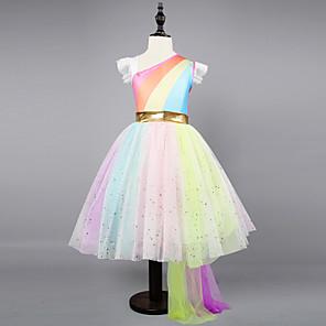 cheap Movie & TV Theme Costumes-Kids Toddler Girls' Active Sweet Party Holiday Unicorn Rainbow Sleeveless Asymmetrical Dress Rainbow