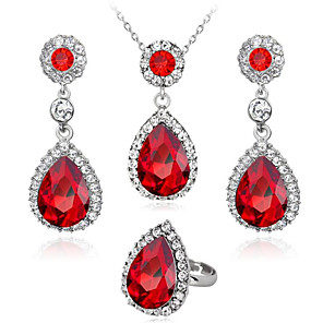 cheap Jewelry Sets-Women's White Sapphire Crystal Bridal Jewelry Sets Classic two stone Drop Ladies Fashion Elegant Earrings Jewelry Red / Green / Blue For Wedding Party Masquerade Engagement Party Prom Promise 1 set