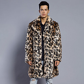 cheap Wedding Wraps-Long Sleeve Coats / Jackets Faux Fur Wedding / Party / Evening Men's Wraps With Leopard Print