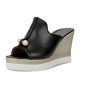 cheap Women's Sandals-Women's Sandals Wedge Sandals Summer Wedge Heel Daily PU White / Black / Pink
