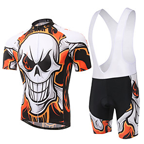 cheap Cycling Jersey & Shorts / Pants Sets-XINTOWN Men's Women's Short Sleeve Cycling Jersey with Bib Shorts Green Blue Pink Skull Bike Bib Shorts Jersey Clothing Suit Breathable 3D Pad Quick Dry Ultraviolet Resistant Sweat-wicking Winter