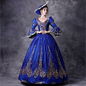cheap Historical & Vintage Costumes-Victorian Rococo Baroque Medieval 18th Century Dress Outfits Party Costume Masquerade Women's Costume Blue Vintage Cosplay Party Prom 3/4 Length Sleeve Floor Length Ball Gown Plus Size Customized