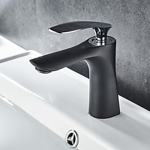 cheap Bathroom Sink Faucets-Bathroom Sink Faucet - Standard Oil-rubbed Bronze Deck Mounted Single Handle One HoleBath Taps