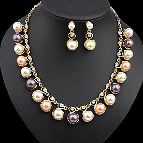 cheap Jewelry Sets-Women's Pearl Drop Earrings Necklace Classic Ladies Stylish Unique Design Elegant Pearl Gold Plated Earrings Jewelry Gold For Party Gift Prom
