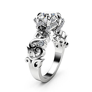 cheap Rings-Women's Ring AAA Cubic Zirconia 1pc Silver Copper Platinum Plated Imitation Diamond Six Prongs Ladies Unique Design Fashion Wedding Party Jewelry Cut Out Totem Series Petal Lovely
