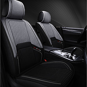 cheap Car Seat Covers-5seats Black Grey Four Seasons General Flax Car Seat Full Cover for five-seat car/Sport style/Linen material/Airbag Compatibility/Adjustable and Removable/Family car/SUV