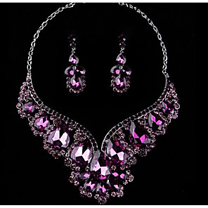 cheap Jewelry Sets-Women's Multicolor Cubic Zirconia Amethyst High End Crystal Drop Earrings Bib necklace Pear Statement Ladies Stylish Luxury Romantic Elegant Rhinestone Earrings Jewelry Purple / Red / Blue For