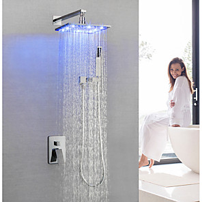 cheap Shower Faucets-Shower Faucet / Bathroom Sink Faucet - Contemporary Chrome Wall Mounted / Brass / Single Handle Three Holes