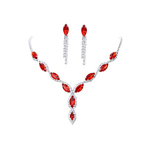cheap Earrings-Women's Red Crystal Necklace Earrings Set Classic Gypsophila Luxury Rhinestone Earrings Jewelry Black / Purple / Red For Wedding Party 1 set