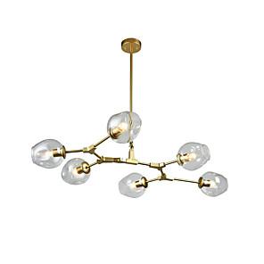 cheap Pendant Lights-6-Light 6-head Northern Europe Modern Golden Chandelier transparence Glass Molecules Vintage Pendant Lights  Living Room Bedroom Dining Room