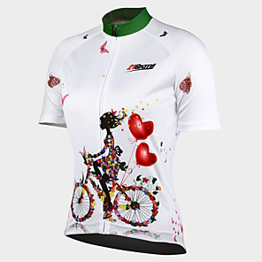 cheap Cycling Jersey & Shorts / Pants Sets-21Grams Women's Short Sleeve Cycling Jersey - White Floral / Botanical Bike Jersey Top, Breathable Quick Dry Ultraviolet Resistant 100% Polyester / Stretchy / Advanced / Back Pocket