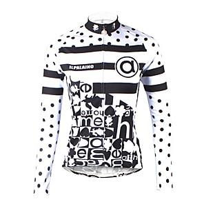 cheap Cycling Jerseys-ILPALADINO Women's Long Sleeve Cycling Jersey Winter Fleece Elastane White Polka Dot Stripes Bike Jersey Top Mountain Bike MTB Road Bike Cycling Thermal / Warm Fleece Lining Ultraviolet Resistant