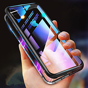 cheap iPhone Cases-Case For Apple iPhone XS / iPhone XR / iPhone XS Max Shockproof / Transparent / Magnetic Full Body Cases Solid Colored Hard Tempered Glass