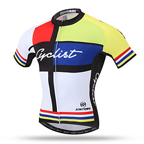 cheap Cycling Jerseys-XINTOWN Men's Short Sleeve Cycling Jersey Yellow Bike Jersey Top Mountain Bike MTB Road Bike Cycling Breathable Quick Dry Back Pocket Sports Clothing Apparel / Stretchy / Sweat-wicking