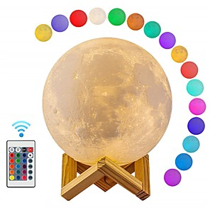 cheap Projector Lights-Moon Lamp LED 3D Print Moon Light with Remote Control Rechargeable Color Changing Moon Light Lamps for Kids Lover Birthday Gifts 12cm / 4.72inch