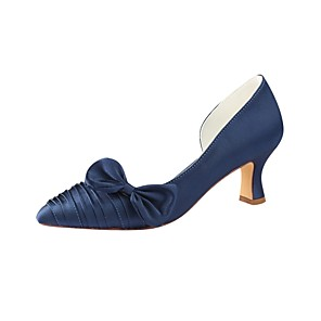 cheap Wedding Shoes-Women's Pumps Satin Summer Wedding Shoes Chunky Heel Pointed Toe Bowknot Dark Blue / Party & Evening