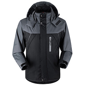 cheap Softshell, Fleece & Hiking Jackets-Men's Hiking Jacket Hiking Windbreaker Winter Outdoor Thermal / Warm Windproof Breathable Rain Waterproof Winter Jacket Top Velvet Full Length Hidden Zipper Ski / Snowboard Climbing Camping / Hiking