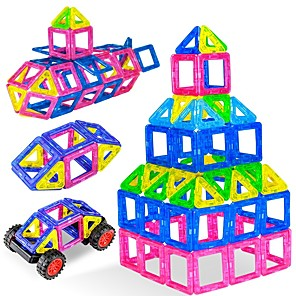 cheap Toy Cars-Magnetic Tiles 3D Magnetic Blocks Building Bricks 38 pcs STEAM Toy Parent-Child Interaction Educational Building Toys All Boys' Girls' Toy Gift / Kid's