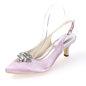cheap Wedding Shoes-Women's Wedding Shoes Glitter Crystal Sequined Jeweled Kitten Heel Pointed Toe Buckle Satin Minimalism Spring & Summer Dark Purple / White / Ivory / Party & Evening