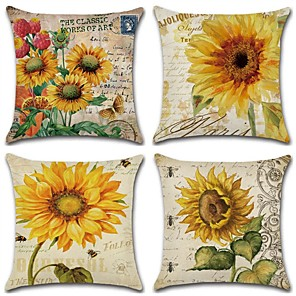 cheap Throw Pillow Covers-Set of 4 Cotton / Linen Modern  Pillow Case, Floral Botanical Leaf Nature Inspired Rustic Throw Pillow