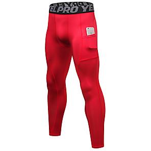 povoljno Odjeća za fitness, trčanje i jogu-YUERLIAN Muškarci Visoki struk Futónadrág Kompresijske hlače Džep Ošišljene dokolenice Butt Lift Quick dry Ovlaživanje Obala Crn Crvena Trening u teretani Trčanje Fitness Sportski Odjeća za rekreaciju
