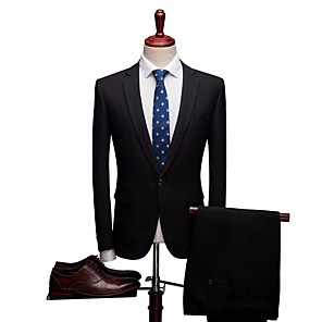 cheap Custom Tuxedo-Solid Colored Standard Fit Spandex / Polyster Suit - Notch Single Breasted One-button / Suits