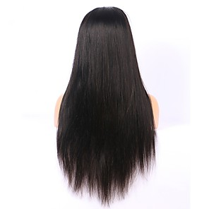 cheap Human Hair Wigs-Remy Human Hair Full Lace Lace Front Wig Asymmetrical style Brazilian Hair Straight Natural Straight Natural Black Wig 130% 150% 180% Density with Baby Hair Soft Women Easy dressing Natural Hairline