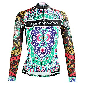 cheap Triathlon Clothing-ILPALADINO Women's Long Sleeve Cycling Jersey Winter Elastane Green Floral Botanical Bike Top Mountain Bike MTB Road Bike Cycling Breathable Quick Dry Ultraviolet Resistant Sports Clothing Apparel