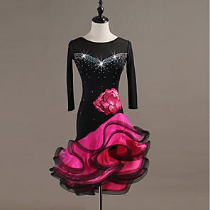 cheap Latin Dancewear-Latin Dance Dress Crystals / Rhinestones Women's Performance Long Sleeve Organza Spandex