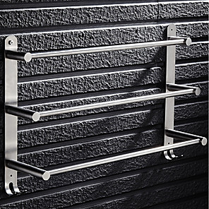 cheap Towel Bars-Stainless Steel Silver Towel Bar 3 Tier Bathroom Towel Rack Towel Holder Rustproof Towel Hanger Slipper Rack with 2 Hooks Wall Mount 40/50/60CM
