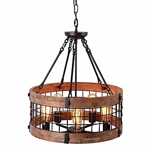cheap Candle-Style Design-QINGMING® 5-Light 50 cm Mini Style Chandelier Metal Wood / Bamboo Mini Painted Finishes / Wood Retro / Country 110-120V / 220-240V