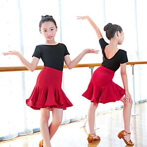 cheap Latin Dancewear-Latin Dance Skirts Wave-like Girls' Training Performance Long Sleeve Elastane Lycra