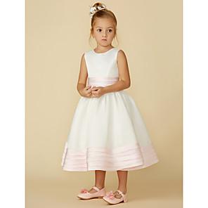 cheap Girls' Dresses-A-Line Tea Length Wedding / First Communion Flower Girl Dresses - Satin Sleeveless Jewel Neck with Sash / Ribbon / Bow(s)
