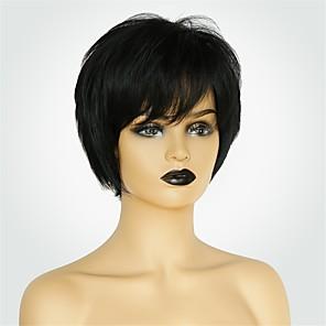 cheap Human Hair Capless Wigs-Human Hair Capless Wigs Human Hair Natural Straight Pixie Cut / Short Hairstyles 2019 Fashionable Design / Comfortable / Natural Hairline Black Short Capless Wig Women's