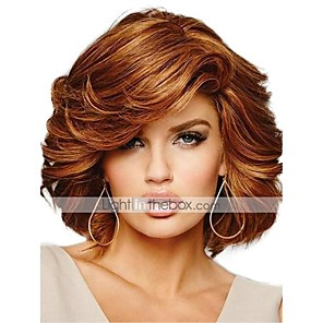 cheap Synthetic Trendy Wigs-Human Hair Blend Wig Medium Length Curly Short Hairstyles 2020 Curly Side Part Machine Made Women's Natural Black #1B Medium Auburn#30 Beige Blonde / Bleached Blonde 10 inch