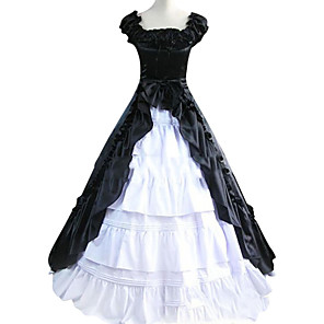 cheap Historical & Vintage Costumes-Vintage Gothic Victorian Medieval 18th Century Dress Party Costume Masquerade Women's Satin Cotton Costume Black / White Vintage Cosplay Sleeveless Floor Length Plus Size Customized