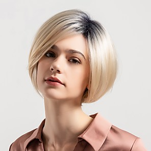 cheap Synthetic Trendy Wigs-Human Hair Blend Wig Short Natural Straight Bob Pixie Cut Short Hairstyles 2020 Multi-color New Arrival Ombre Hair Natural Hairline Capless Women's Black / Strawberry Blonde Dark Brown / Dark Auburn