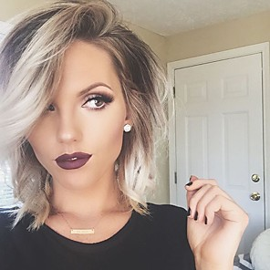 cheap Synthetic Lace Wigs-Human Hair Capless Wigs Human Hair Natural Wave Bob / Layered Haircut / Short Hairstyles 2019 / With Bangs Halle Berry Hairstyles Ombre Hair / Dark Roots / Side Part Ombre Machine Made Wig Women's