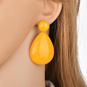 cheap Earrings-Women's Drop Earrings Retro two stone Pear Mood Ladies Classic Vintage Oversized Resin Earrings Jewelry Green / Blue / Pink For Party Festival 1 Pair