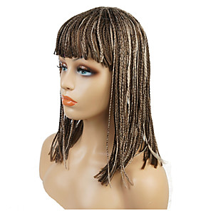 cheap Synthetic Lace Wigs-Synthetic Wig Afro Braid Wig Medium Length Medium Brown / Light Blonde Synthetic Hair 18 inch Women's Synthetic African American Wig Braided Wig Light Brown