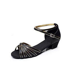 cheap Latin Shoes-Women's Dance Shoes Latin Shoes Ballroom Shoes Heel Chunky Heel Non Customizable Black and Gold / Satin / EU39