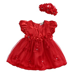 cheap Baby Girls'  Dresses-Baby Girls' Basic Daily Floral Layered Mesh Lace Trims Sleeveless Regular Regular Above Knee Dress Red / Toddler