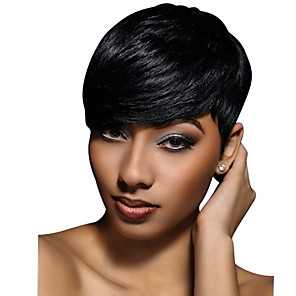 cheap Human Hair Capless Wigs-Human Hair Wig Short Wavy Natural Wave Pixie Cut Short Hairstyles 2019 With Bangs Berry Natural Wave Short African American Wig For Black Women Women's Black#1B Strawberry Blonde / Light Blonde