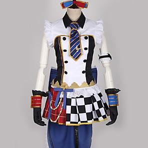 povoljno Anime kostimi-Inspirirana Ljubav uživo Kostimi sluškinje Cosplay Anime Cosplay nošnje Japanski Cosplay Suits Karirano / kockasto Miks boja Haljina Rukavice Luk Za Muškarci Žene / More Accessories