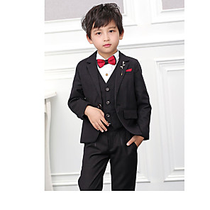 cheap Indoor IP Network Cameras-Burgundy / Black POLY / Cotton Blend Ring Bearer Suit - 3 Pieces Includes  Jacket / Vest / Pants