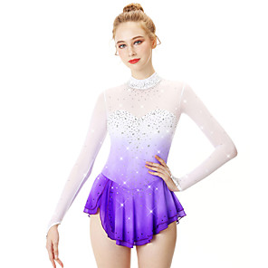 cheap Ice Skating Dresses , Pants & Jackets-21Grams Figure Skating Dress Women's Girls' Ice Skating Dress Yan pink Golden yellow Violet Halo Dyeing Spandex Stretch Yarn Lace High Elasticity Professional Competition Skating Wear Handmade Fashion