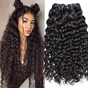 cheap 3 Bundles Human Hair Weaves-3 Bundles Hair Weaves Brazilian Hair Water Wave Human Hair Extensions Remy Human Hair 100% Remy Hair Weave Bundles 300 g Natural Color Hair Weaves / Hair Bulk Human Hair Extensions 8-28 inch Natural