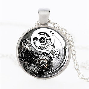 cheap Pendant Necklaces-Men's Pendant Necklace Vintage Style Gear yin yang Stylish Vintage Steampunk Army Alloy Bronze Black Gold Silver 50 cm Necklace Jewelry 1pc For Gift Street Cosplay Costumes