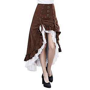 cheap Historical & Vintage Costumes-Goddess Steampunk Dress Women's Costume Coffee Vintage Cosplay Long Pant