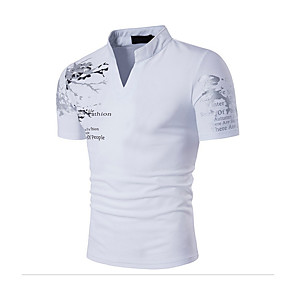cheap Professional Tattoo Kits-Men's Daily T-shirt Graphic Solid Colored Print Short Sleeve Slim Tops Cotton Active Boho Stand Collar White Black Red / Sports / Summer